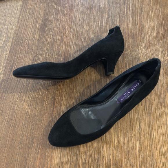 Ralph Lauren Collection Purple Label Womens Black Suede Leather Heels Shoes 7 37